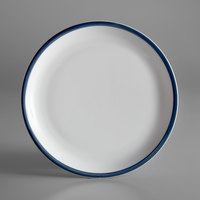 Syracuse China 999024150 Banded Rigel Constellation 9 inch Lunar Bright White Porcelain Pellet Plate with Steel Blue Solid Band - 24/Case