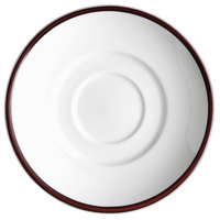 Syracuse China 999025500 Banded Rigel Constellation 6 inch Lunar Bright White Porcelain Saucer with Apple Butter Solid Band - 36/Case