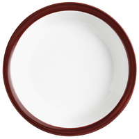 Syracuse China 999025152 Banded Rigel Constellation 28.5 oz. Lunar Bright White Porcelain Pellet Bowl with Apple Butter Solid Band - 36/Case