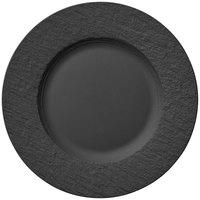 Villeroy & Boch 16-4074-2620 The Rock 10 1/2 inch Black Shale Flat Porcelain Plate - 6/Case