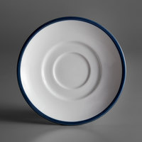 Syracuse China 999024500 Banded Rigel Constellation 6 inch Lunar Bright White Porcelain Saucer with Steel Blue Solid Band - 36/Case