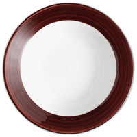 Syracuse China 999025892 Banded Rigel Constellation 3.5 oz. Lunar Bright White Porcelain Bowl with Apple Butter Solid Band - 36/Case