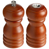 Choice 4 inch Brown Wooden Salt Shaker and Pepper Mill Set