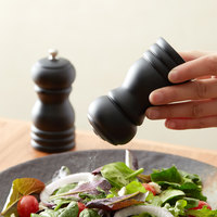 Choice 4 inch Black Wooden Salt Shaker and Pepper Mill Set