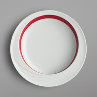 Schonwald 9181822-62931 Donna Senior 19 oz. White and Red Porcelain Comfort Bowl - 6/Case
