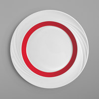 Schonwald 9181826-62931 Donna Senior 10 1/4 inch White and Red Porcelain Special Rim Plate - 6/Case
