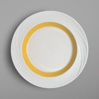 Schonwald 9181826-62991 Donna Senior 10 1/4 inch White and Orange Porcelain Special Rim Plate - 6/Case