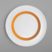 Schonwald 9181824-62991 Donna Senior 9 1/2 inch White and Orange Porcelain Special Rim Plate - 6/Case