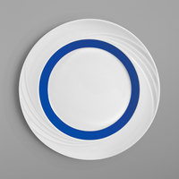 Schonwald 9181824-62971 Donna Senior 9 1/2 inch White and Dark Blue Porcelain Special Rim Plate - 6/Case