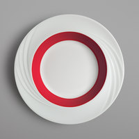 Schonwald 9181823-62931 Donna Senior 13 oz. White and Red Porcelain Special Deep Rim Bowl - 6/Case