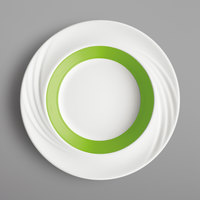 Schonwald 9181823-62941 Donna Senior 13 oz. White and Light Green Porcelain Special Deep Rim Bowl - 6/Case