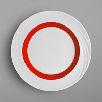 Schonwald 9181824-62931 Donna Senior 9 1/2 inch White and Red Porcelain Special Rim Plate - 6/Case