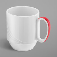 Schonwald 9185629-62931 Donna Senior 9.5 oz. White and Red Porcelain Special Stackable Mug - 6/Case