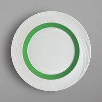 Schonwald 9181826-62941 Donna Senior 10 1/4 inch White and Light Green Porcelain Special Rim Plate - 6/Case