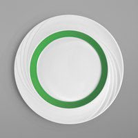 Schonwald 9181824-62941 Donna Senior 9 1/2 inch White and Light Green Porcelain Special Rim Plate - 6/Case