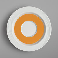 Schonwald 9187130-62992 Donna Senior 6 5/8 inch White and Orange Porcelain Special Saucer - 12/Case