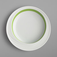 Schonwald 9181822-62941 Donna Senior 19 oz. White and Light Green Porcelain Comfort Bowl - 6/Case