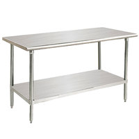 Advance Tabco Premium Series SS-245 24 inch x 60 inch 14 Gauge Stainless Steel Commercial Work Table with Undershelf