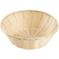 8 inch Round Natural-Colored Rattan Basket   - 12/Case