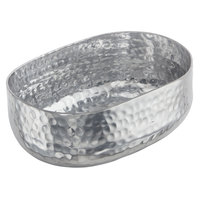 American Metalcraft ABHS46 25 oz. Silver Hammered Aluminum Oval Serving Bowl