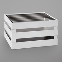 GET Enterprises CH-HALF-W Curator White Half Size Metal Crate Frame with Grill and Riser - 14 1/2 inch x 11 3/4 inch x 8 inch