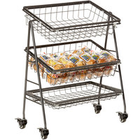GET Enterprises IR-2010-MG Urban Renewal 21 1/2 inch x 12 1/4 inch Rectangular Three Tier Mobile Merchandiser Stand