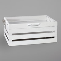 GET Enterprises CH-FULL-W Curator White Full Size Metal Crate Chafer Stand with Self-Closing Lid - 21 3/4 inch x 13 1/2 inch x 9 1/2 inch