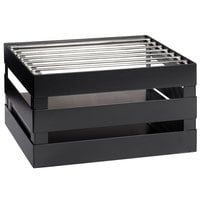 GET Enterprises CH-HALF-MG Curator Gray Half Size Metal Crate Frame with Grill and Riser - 14 1/2 inch x 11 3/4 inch x 8 inch