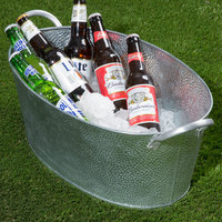 Tablecraft GT2313 Galvanized Steel Oval Beverage Tub - 23 inch x 13 inch x 7 1/2 inch