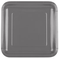 Creative Converting 339653 9 inch Square Glamour Gray Paper Plate - 18/Pack