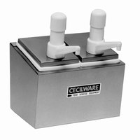 Cecilware 244S Super Pumps Stainless Steel Condiment Rail with Two Plastic Pumps, Jars, and Covers