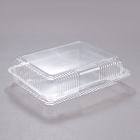 Dart Solo C57UT1 StayLock 10 1/2 inch x 8 1/4 inch x 2 7/8 inch Clear Hinged Plastic 10 1/2 inch Oblong Container - 250/Case