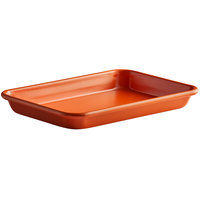 Baker's Mark Eighth Size 18 Gauge Non-Stick 6 1/2 inch x 9 1/2 inch Orange Wire in Rim Aluminum Bun / Sheet Pan / Tray