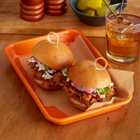 Baker's Mark Eighth Size Non-Stick 18 Gauge 6 1/2 inch x 9 1/2 inch Orange Wire in Rim Aluminum Bun / Sheet Pan / Tray