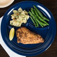 Carlisle 4351435 Dallas Ware 9 3/4 inch Cafe Blue 3-Compartment Melamine Plate - 36/Case