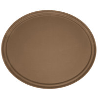 Carlisle 2700GR076 Toffee Tan 27 inch x 22 inch Oval Griptite Non Skid Fiberglass Serving Tray