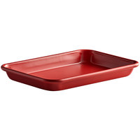 Baker's Mark Eighth Size 18 Gauge Non-Stick 6 1/2 inch x 9 1/2 inch Red Wire in Rim Aluminum Bun / Sheet Pan / Tray