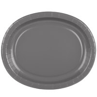 Creative Converting 339652 12 inch x 10 inch Oval Glamour Gray Paper Platter - 8/Pack