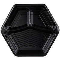 Genpak HX013-3L Smart-Set 10 5/16 inch Black Hexagonal 3 Compartment Foam Serving Tray - 200/Case