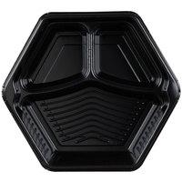 Genpak HX013-3L Smart-Set 10 5/16 inch Black Hexagonal 3 Compartment Foam Serving Tray - 200/Case