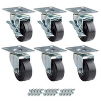 Avantco 178A3PCKIT6 3 inch Swivel Plate Casters with Mounting Hardware - 6/Set