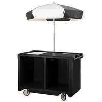 Cambro CVC55110 Camcruiser Black Customizable Vending Cart with Umbrella, 1 Counter Well, and 2 Storage Compartments