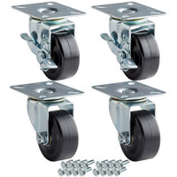 Avantco 178A3PCKIT4 3 inch Swivel Plate Casters with Mounting Hardware - 4/Set