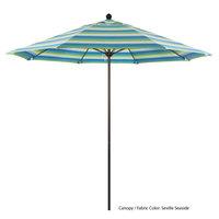 California Umbrella ALTO 908 SUNBRELLA 1A Venture 9' Round Push Lift Umbrella with 1 1/2 inch Bronze Aluminum Pole - Sunbrella 1A Canopy