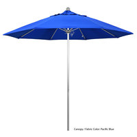 California Umbrella ALTO 908 SUNBRELLA 1A Venture Customizable 9' Round Push Lift Umbrella with 1 1/2 inch Silver Anodized Aluminum Pole - Sunbrella 1A Canopy