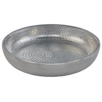 American Metalcraft ADSEAS14 14 inch Round Silver Double Wall Hammered Aluminum Seafood Tray