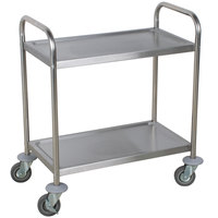Choice 28 inch x 16 inch x 32 inch Knocked Down 18 Gauge Stainless Steel 2 Shelf Utility Cart