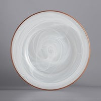 The Jay Companies 1470354C 13 inch Round White Alabaster Glass Charger Plate with Rose Gold Rim