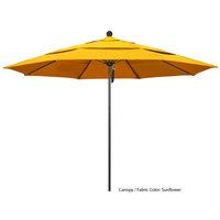 California Umbrella ALTO 118 SUNBRELLA 1A Venture 11' Round Pulley Lift Umbrella with 1 1/2 inch Bronze Aluminum Pole - Sunbrella 1A Canopy