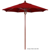 California Umbrella FLEX 758 SUNBRELLA 2A Sierra 7 1/2' Round Pulley Lift Umbrella with 1 1/2 inch Red Oak Fiberglass Pole - Sunbrella 2A Canopy